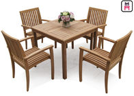 Rectangle / Round / Square Folding Table And Chairs Solid Wood Garden Furniture Sets
