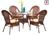 4 Seater Outdoor Restaurant Tables With Rattan Metal Frame D80* H72 Cm