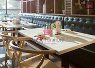 Leather Restaurant Booth Seating Fast Food Hotel Booth Sofa Diamond Button Decoration