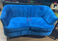160cm Length Arc Shape Custom Booth Seating Velvet Upholstery Loveseat Wood Frame