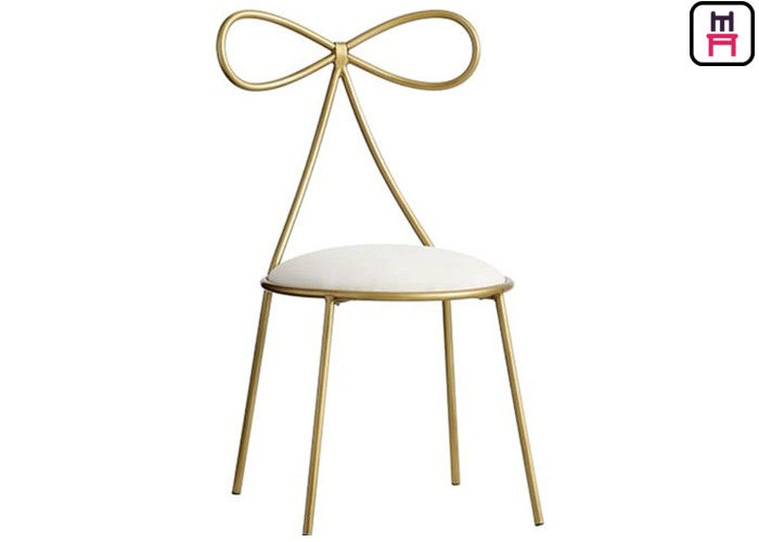 Ins Style Lovely Bow Metal Restaurant Chairs With Custom Cushion Color On Stock