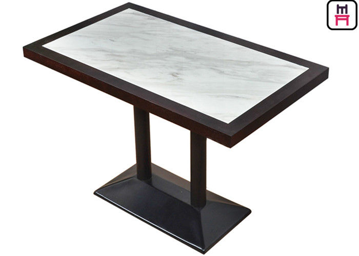 4 Seats Commercial Restaurant Tables Luxury Marble Inset Wood 4ft*2ft Casting Iron
