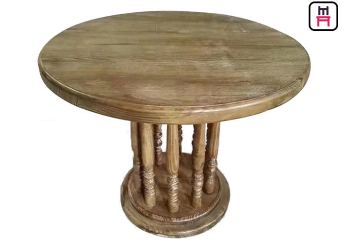 Rustic Wood Top Commercial Restaurant Tables , Roman Column Vintage Round Dining Table