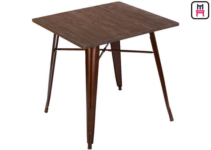 Quare Counter Height Dining Table , Solid Wood Top Metal Bast Replica Tolix Dining Table