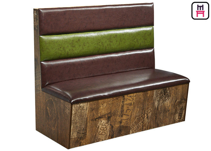Industrial Style 3 Channels Bar Booth Seating Double Sided Upholstery Leather