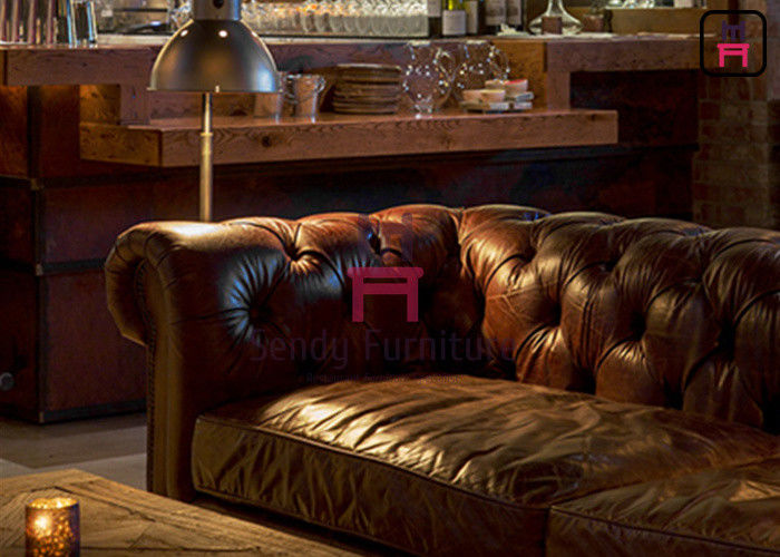 Leather / Fabric Hotel Restaurant Bar Stools Chesterfield Sofa American Style