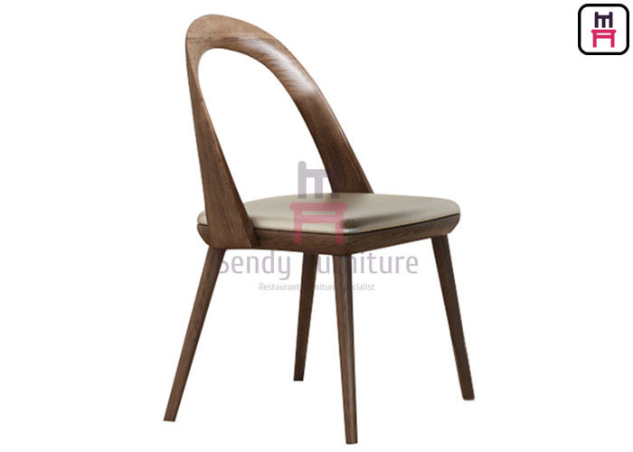 Armless Restaurant Dining Room Chairs Bowed Backrest Upholstered Fabric Ash Wood