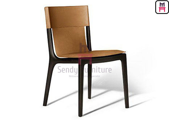 Solid Structure Contemporary Leather Dining Chairs Ash Wood Frame Without Armrest